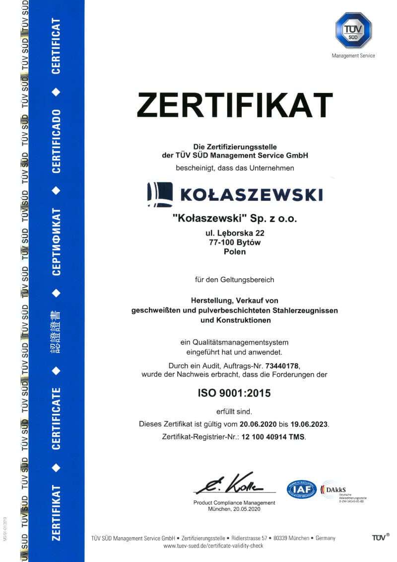 ZERTIFIKAT ISO - KOLASZEWSKI SP. Z O.O.