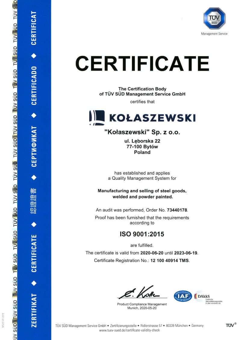 CERTIFICATE ISO - KOLASZEWSKI SP. Z O.O.