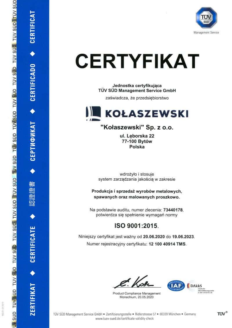 CERTYFIKAT ISO - KOLASZEWSKI SP. Z O.O.